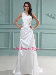 shoulder ruching beaded wedding dresses with cut out straps side
