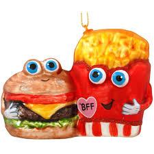 hamburger and fries bff glass ornament novelty nostalgia