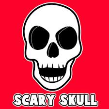draw creepie cartoon skull halloween easy steps