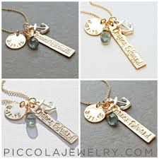 Baby Name Jewelry Anchor Name And Birth Date Necklace With Anchor Charm Piccola