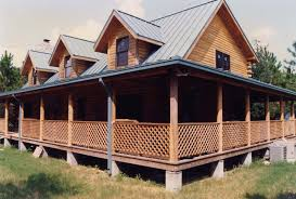 wooden front porch over concrete log cabin house plans with wrap around porches