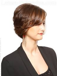 texture of rennas hair sweet texture layered brown bob with highlights side view