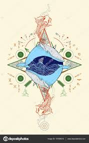 two whales in sea wind rose compass color mystical tattoo u2014 stock