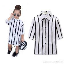2017 girls fashion striped petticoat dress turndown collar