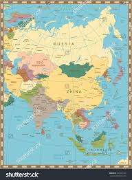 Map If Asia by Old Vintage Color Map Asia Elements Stock Vector 433276543