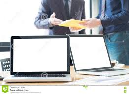 Laptops Desk by Soft Picture For Feeling Relax Laptops On Desk In Office With Mo