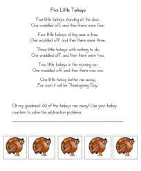 thanksgiving five turkeys poem turkey day