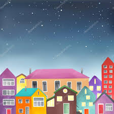 Different Houses by Houses On The Starry Sky Background U2014 Stock Vector 82723258