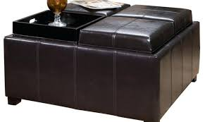 Leather Ottoman Bench Faux Leather Ottoman Coffee Table Cfe Cfee Brown Faux Leather