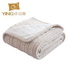 Berber Throw Rugs Thick Plush Winter Blanket Beige White Cotton Knitted Throw