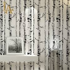 Birch Tree Decor Aliexpress Com Buy Black White Birch Tree Wallpaper Vinyl