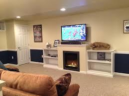 basement fireplace ideas pictures built shelving entertainment