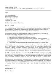 Pharmacist Resume Cover Letter Retail Pharmacy Technician Cover Letter