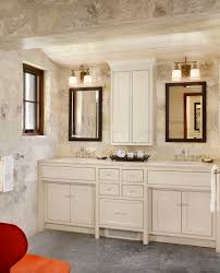 cherry bathroom wall cabinet with farmhouse stone wall bathroom