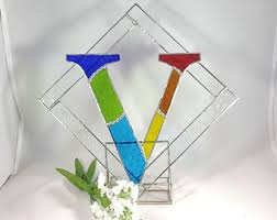 stained glass letter etsy