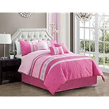 Pink Striped Comforter Amazon Com 7 Pc Modern Black Pink White Gray Suede Comforter