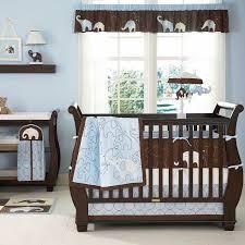 Elephant Crib Bedding For Boys Blue And Brown Elephant Baby Boy 4pc Cheap Nursery Collection Crib