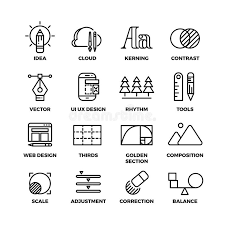 creative process and design sketch tools outline vector icons