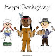 clip of happy thanksgiving text stick pilgrims and