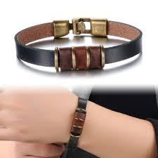 leather bracelet styles images Punk rock style genuine leather men bracelet bangle 16mm width jpg