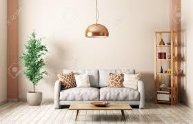 modern interior of living room with gray sofa lamp shelf coffee