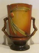 Roseville Pinecone Vase Vintage Lg Roseville Pottery Vase In Brown Pinecone Pottery Art