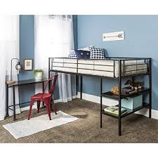 twin metal loft bed with desk and shelving amazon com twin modern metal loft bed with desk and shelves black