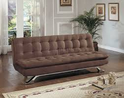 Modern Furniture Depot by Brown Microfiber Modern Sofa Bed Convertible W Chrome Legs