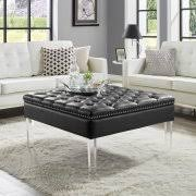 giulia pu leather oversized button tufted with silver nailhead
