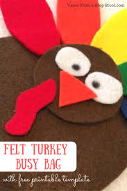 turkey thanksgiving song felt turkey busy bag with free printable template busy bags