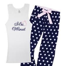 customized mrs polka dot pajama set soon to be tank top and