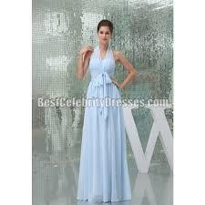 light sky blue prom dress halter chiffon evening gown bcdw5078