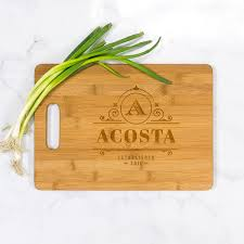 cutting board engraved acosta personalized bamboo cutting board with handle