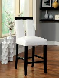 contemporary counter height table furniture of america white larkions upholstered 27 inch counter