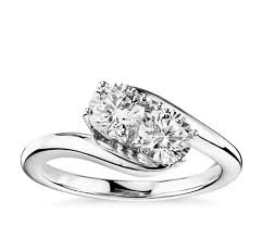 two diamond ring two solitaire diamond ring in 14k white gold 1 ct tw