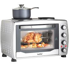 vonshef 36l mini oven grill u0026 rotisserie with double plates