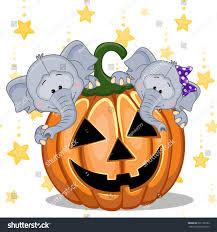 pumpkin cartoon pic halloween illustration two cartoon elephants pumpkins stock