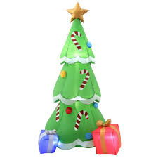 Home Depot Christmas Lawn Decorations by Home Accents Holiday 6 5 Ft H Inflatable Christmas Tree With
