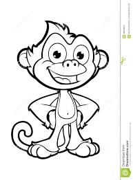 cheeky monkey character in black u0026 white stock vector image