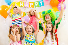 clowns for a birthday party jolly kids and clown on birthday party stock photo picture
