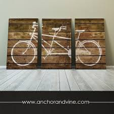 Home Decor Gift Items Canvas Tandem Bike On Brown Wood Oversized Canvas Art