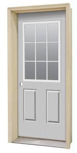 Prehung Exterior Door Commander Primed Steel 9 Lite Prehung Entry Door At Menards