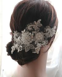 bridal hair clip white lace sequins bridal hair clip pearl beaded lace