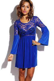 blue lace splicing pleated dress long sleeve dresses long