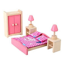 doll house bedroom furniture set bed table lamp closet