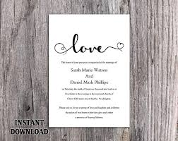 wedding invitations black and white diy wedding invitation template editable word file instant
