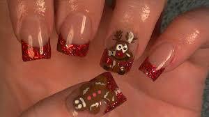 christmas acrylic nails gingerbread man u0026 reindeer youtube