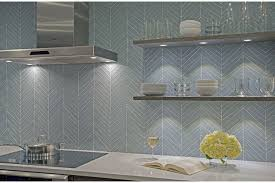 glass tile backsplash chevron island stone