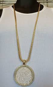 gold round necklace images Mens iced out hip hop gold round cz medallion pendant 36 quot franco jpg