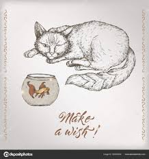 romantic vintage birthday card template with calligraphy cat and